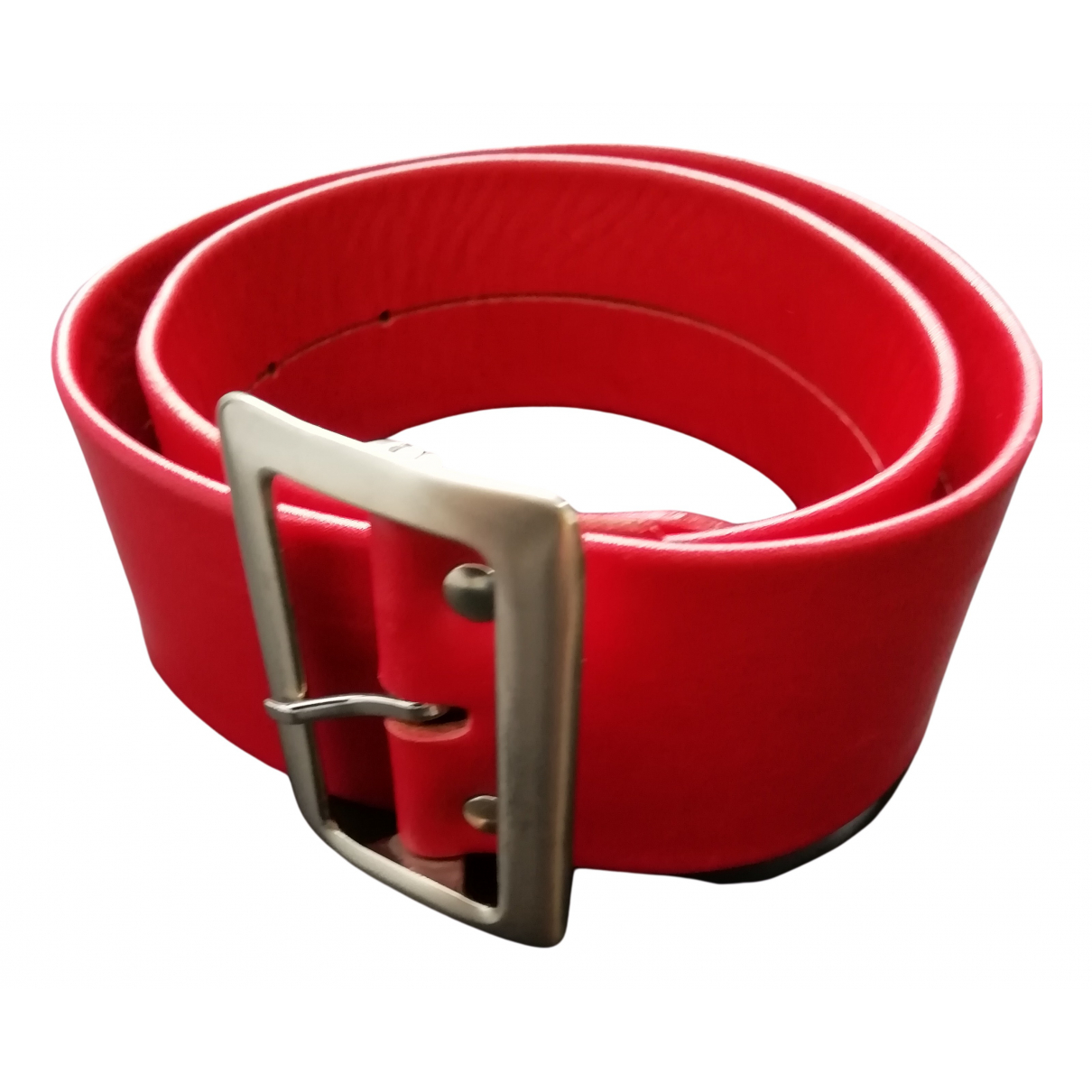 Agnès B. N Red Leather belt for Women 70 cm