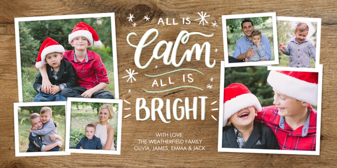 Christmas Photo Cards Flat Matte Photo Paper Cards with Envelopes, 4x8, Card & Stationery -Christmas Hand Lettered Calm by Tumbalina