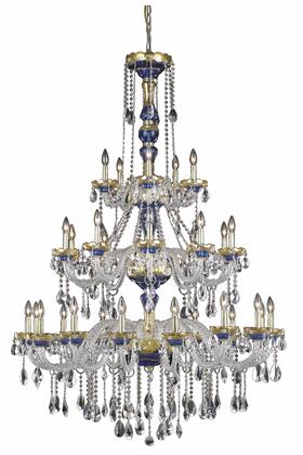 7810G45BE/EC 7810 Alexandria Collection Large Hanging Fixture D45in H62in Lt: 15+10+5 Blue Finish (Elegant Cut