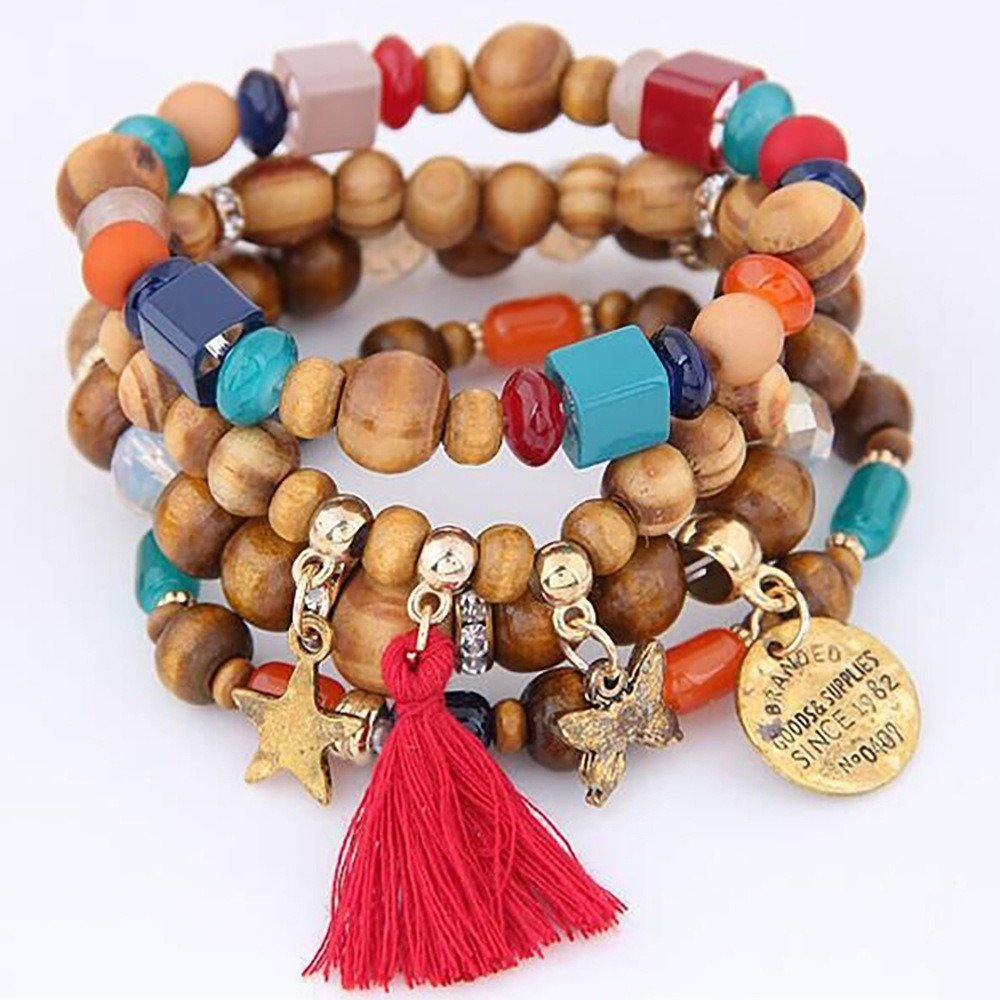 Retro Mix Color Beaded Bracelet Bohemian Butterfly Stars Multi Layer Bracelet For Women