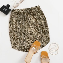 Rock mit Taillenband, gebogenem Saum und Leopard Muster