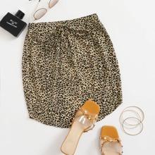 Leopard Print Drawstring Curved Hem Skirt