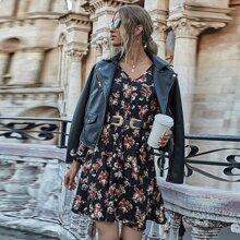 A-Linie Kleid mit Blumen Muster, Bischofaermeln ohne Guertel