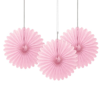 Solid Tissue Paper Fans for Party Decoration 6 3Pcs - Lovely Pink