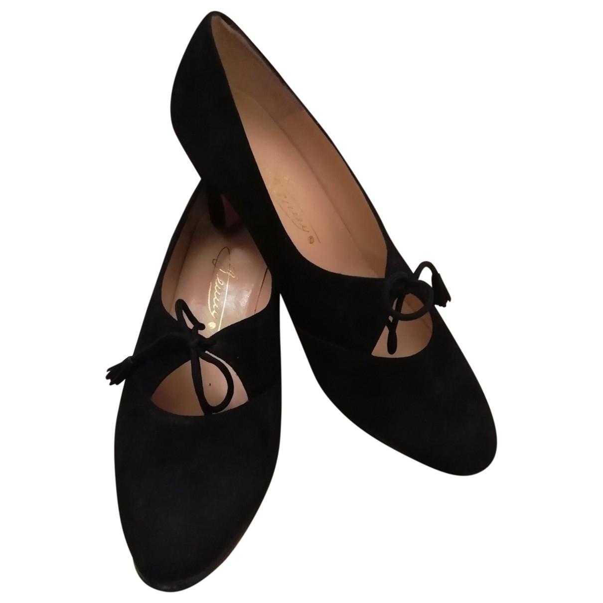 Genny - Escarpins   pour femme en suede - noir