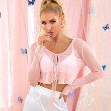 Tie Front Sheer Mesh Top Without Bra