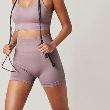 Einfarbige sportliche Shorts mit breitem Taillenband