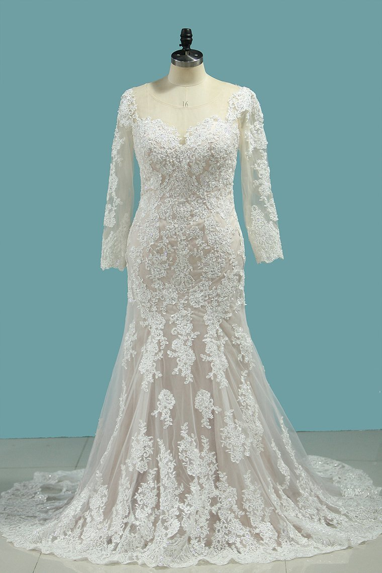 BMbridal Elegant Mermaid Jewel Tulle Lace Wedding Dress Long Sleeves Appliques Sequined Bridal Gowns Online