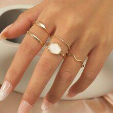 5 piezas anillo con diseño geometrico