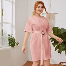 Plus Solid Dress With Buckle Belt