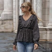 Bluse mit Bluemchen Muster, Rueschenbesatz und Schosschen