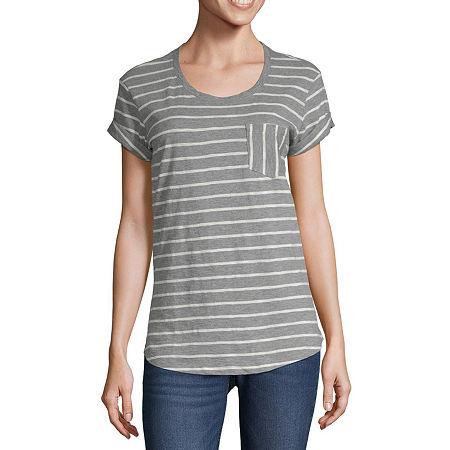 a.n.a-Womens Round Neck Short Sleeve T-Shirt, Petite Medium , Multiple Colors