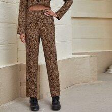 Hose mit Reissverschluss hinten, Leopard Muster und geradem Beinschnitt