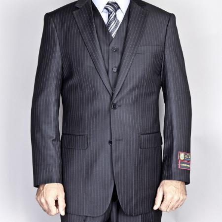 2Button side Vented Jacket and Flat Front Pants Black Pinstripe