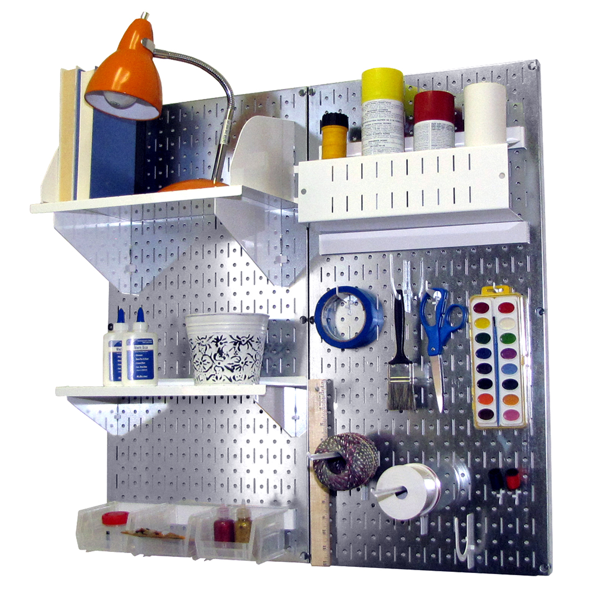 Pegboard Hobby Craft Pegboard Organizer Storage Kit with Metallic Pegboard and White Accessories