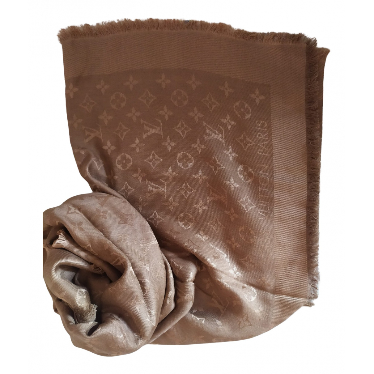 Louis Vuitton - Foulard Chale Monogram shine pour femme en soie - marron