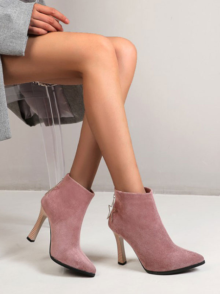 Milanoo Ankle Boots Pink Micro Suede Upper Pointed Toe Chunky Heel Booties For Women