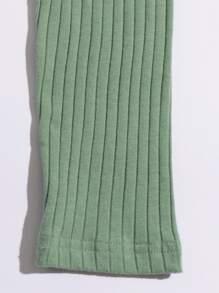 Rib-knit Single Breasted Tee
