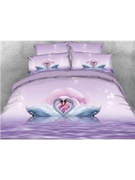 Vivilinen Romantic Swans in Love Printed 4-Piece 3D Bedding Sets/Duvet Covers