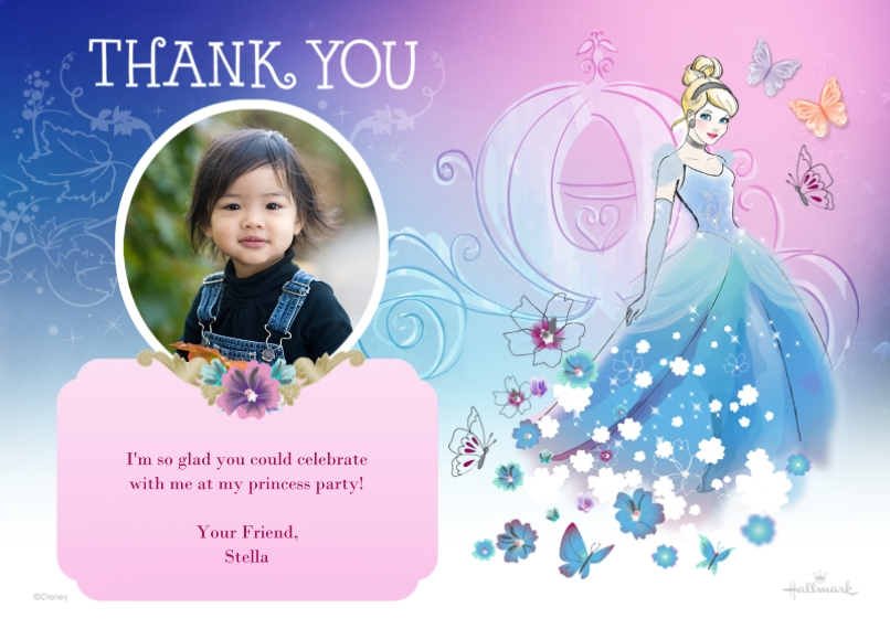Kids Thank You Cards 5x7 Cards, Premium Cardstock 120lb with Elegant Corners, Card & Stationery -Magical Cinderella Thank You