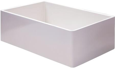 AB536-W 36 Smooth Apron Single Bowl Fireclay Farm Sink with Thermal Shock  Traditional Style and Rare Center Drain Placement in White