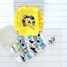 Toddler Boys Letter And Camo Print Sweatshirt & Sweatpants