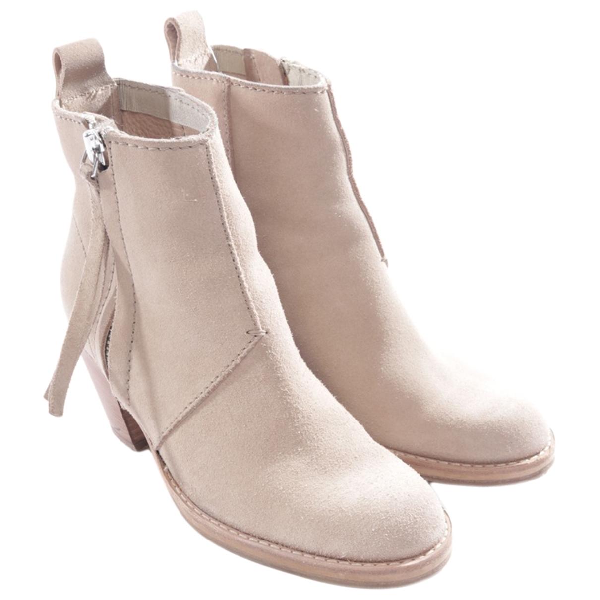 Acne Studios - Boots   pour femme en cuir - beige