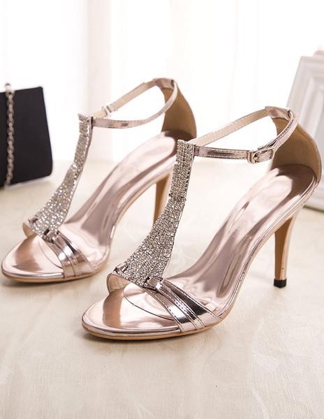 Milanoo Black Sandals Rhinestone Chic PU Heels for Women