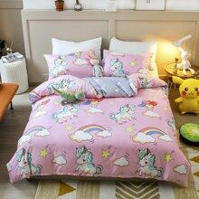 Cartoon Unicorn Print Bedding Set Without Filler