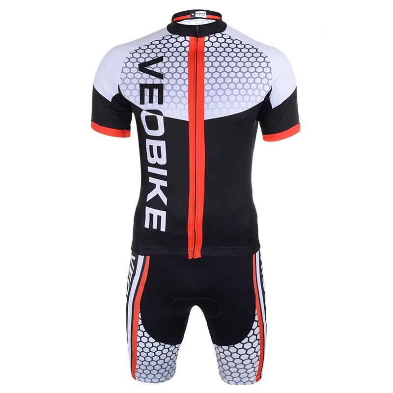 Black Hexagon Pattern 3D Padded Pants Short Sleeve Men's Cycling Jersey