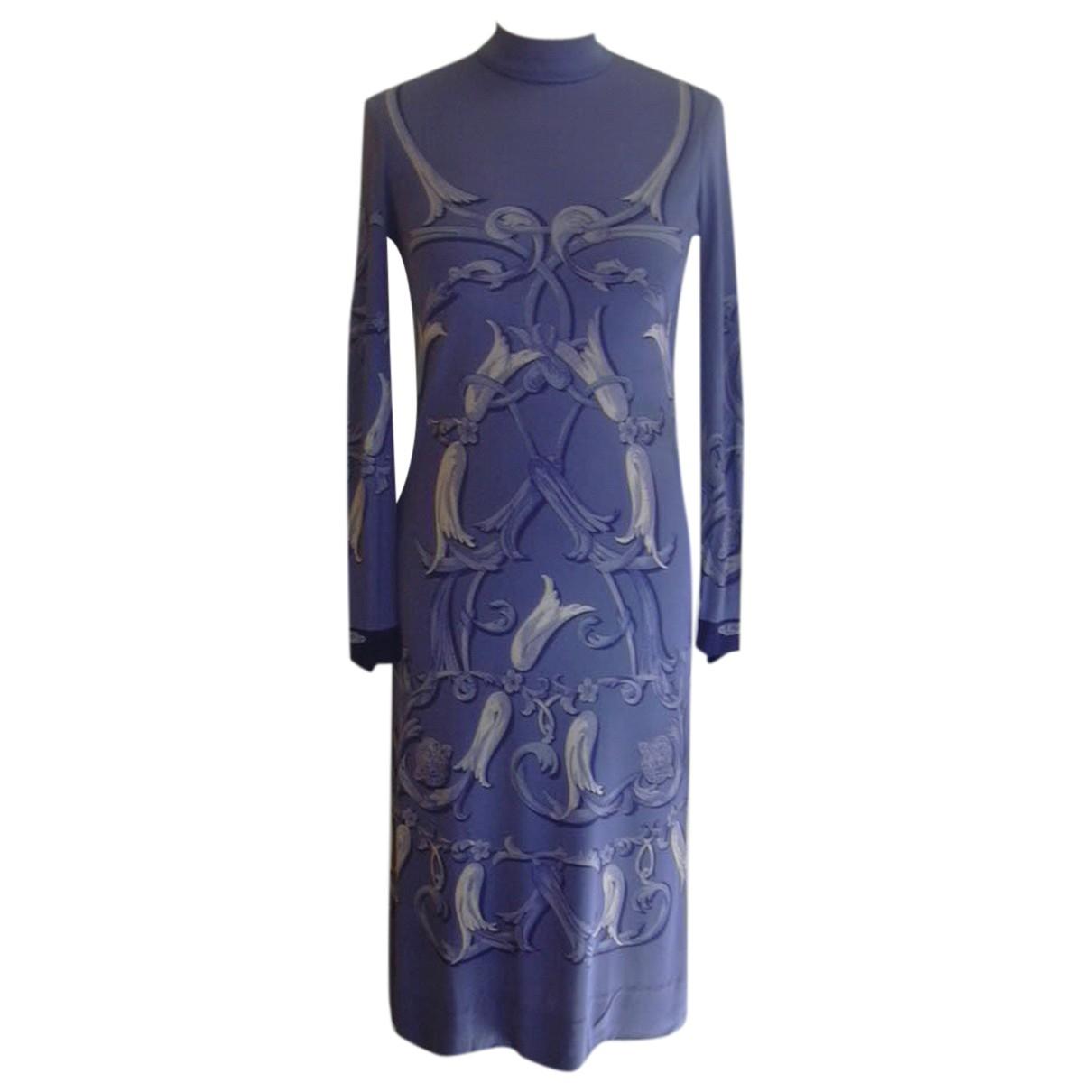 Hermes - Robe   pour femme en soie - bleu