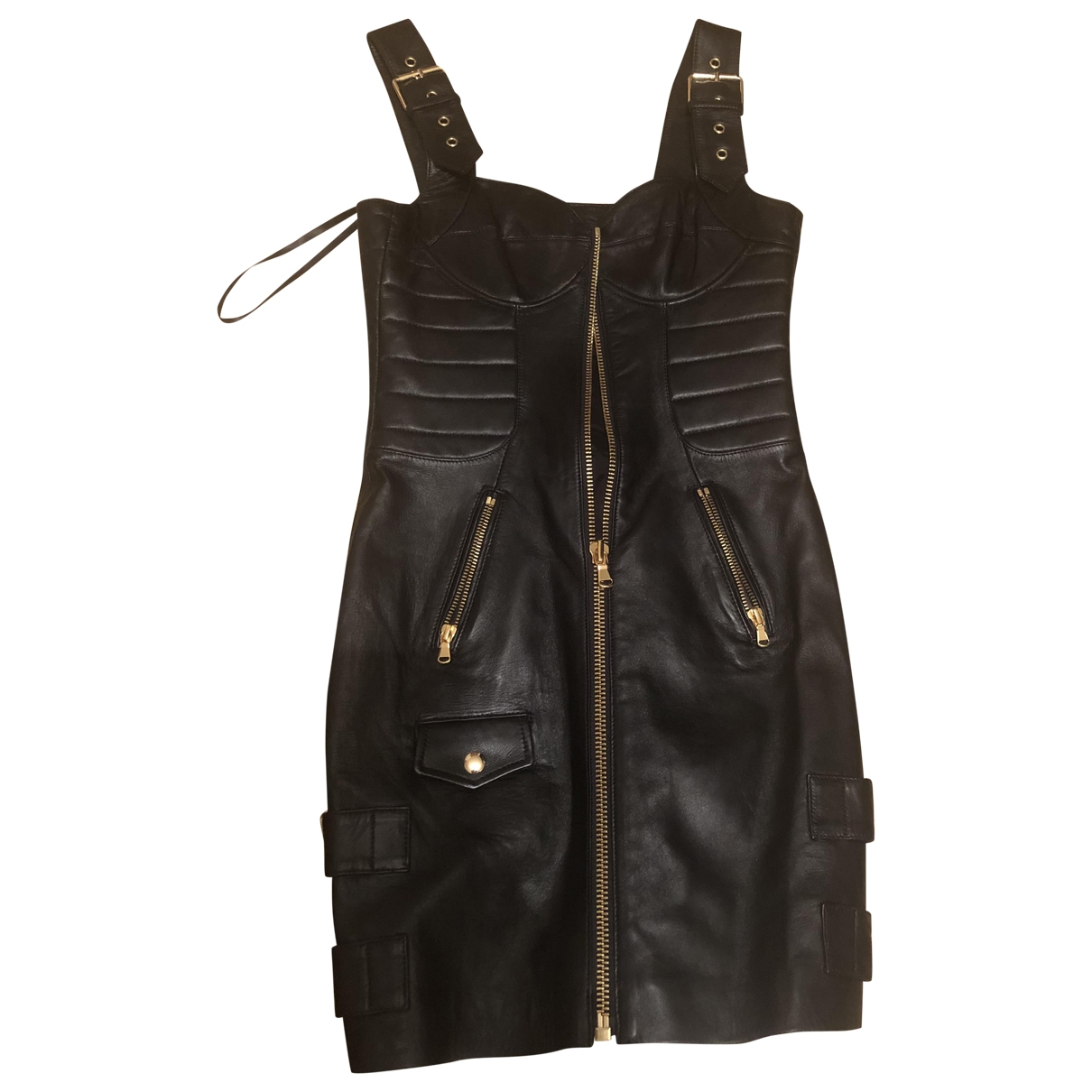 Moschino For H&m \N Kleid in  Schwarz Leder