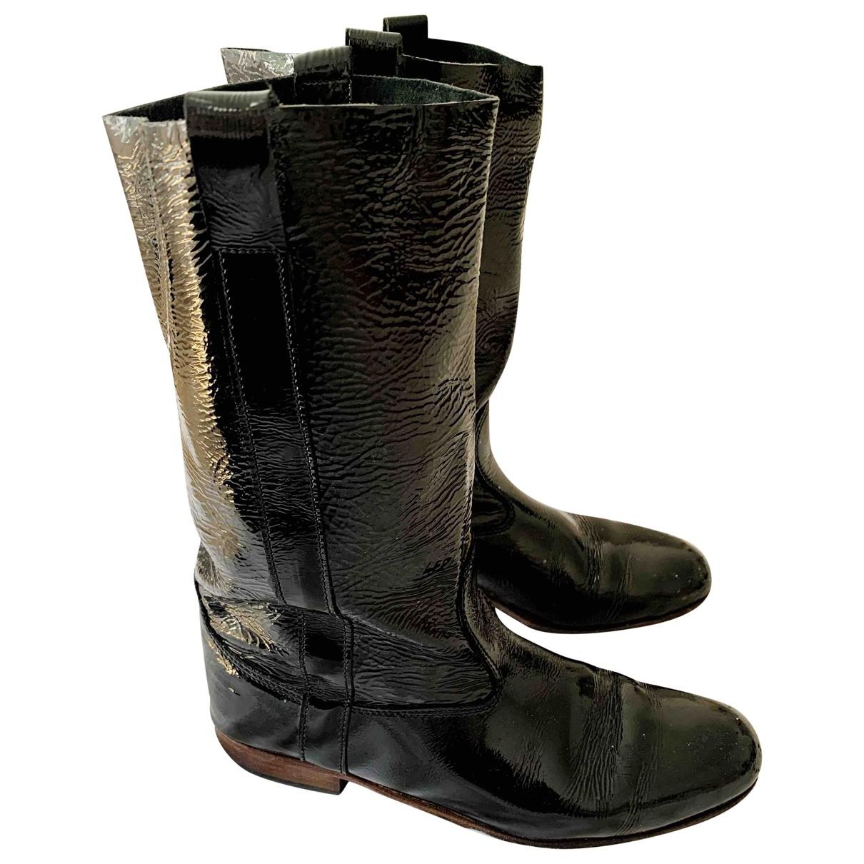 La Botte Gardiane - Bottes   pour femme en cuir verni - noir