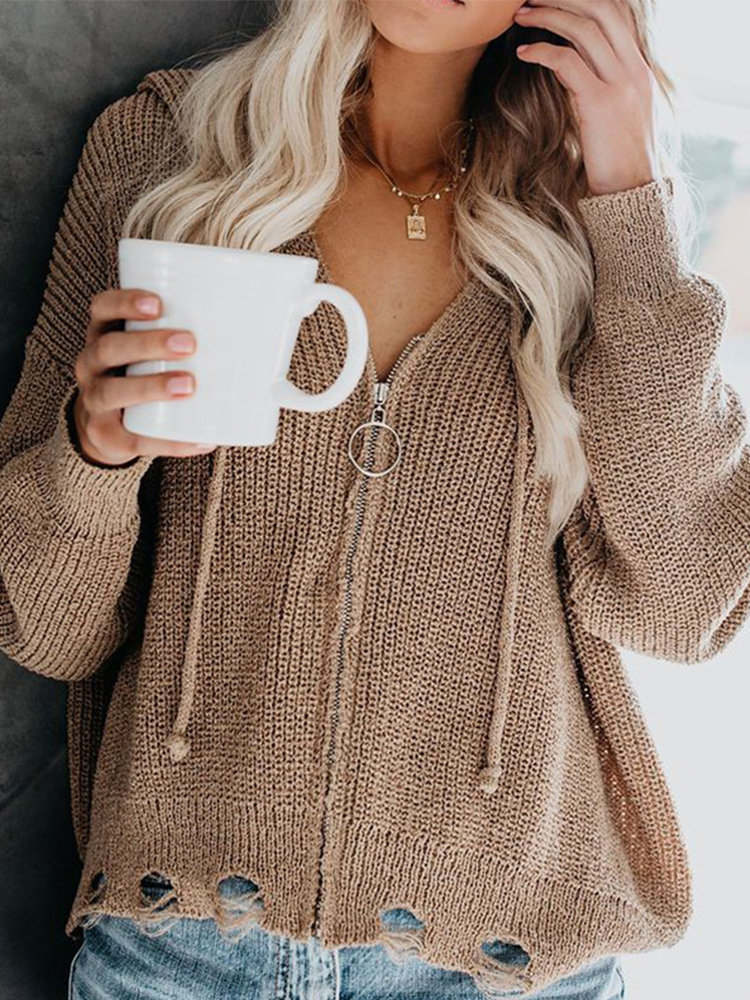 Solid Color Knit Ripped Hooded Sweater