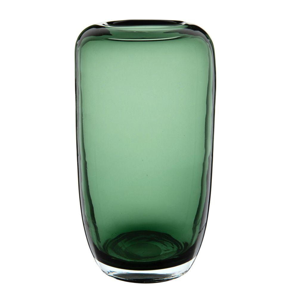 Vase aus gruen getontem Glas
