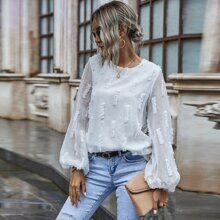 Solid Fuzzy Bishop Sleeve Blouse