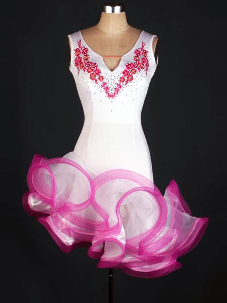 Milanoo Dance Costumes Latin Dancer Dresses White Sleeveless Flowers Beaded Ruffle Asymmetrical Dancing Clothing Hallloween