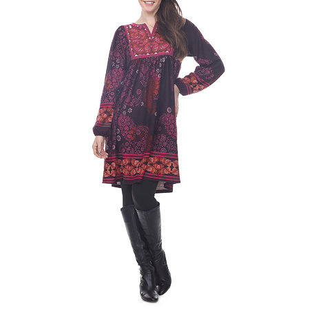 White Mark Apolline Long Sleeve Paisley Sheath Dress, X-large , Purple
