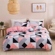 Bettwaesche Set mit geometrischem Muster ohne Fuellstoff
