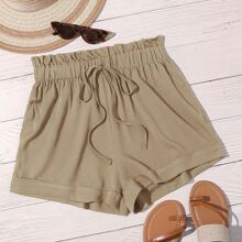 Paperbag Waist Knot Front Solid Shorts