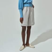 Cotton Wide Leg Track Shorts