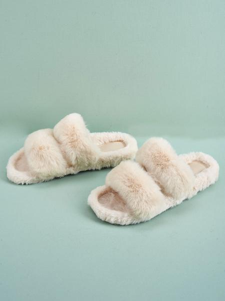 Milanoo Pantuflas de Mujer Blanco Crudo Tacones Planos Poliuretano Zapatos Casuales