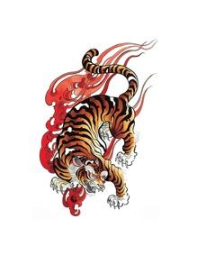 1sheet Tiger Pattern Tattoo Sticker