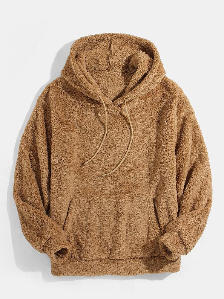 Mens Solid Fluffy Drawstring Fleece Plush Hoodie With Kangaroo Pocket