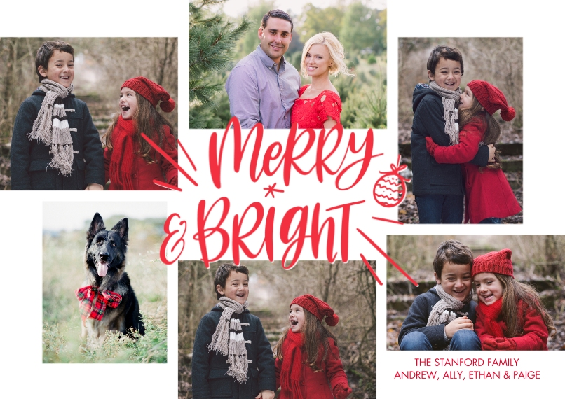 Christmas Photo Cards 5x7 Cards, Premium Cardstock 120lb with Rounded Corners, Card & Stationery -Christmas Merry Bright Ormanment by Tumbalina