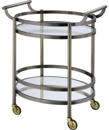 BM158856 Oval Metal Serving Cart  Clear Glass & Black