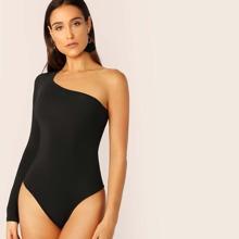 Solid One-Shoulder Bodysuit