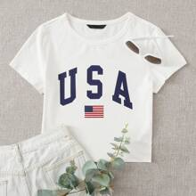 Flag & Letter Graphic Tee