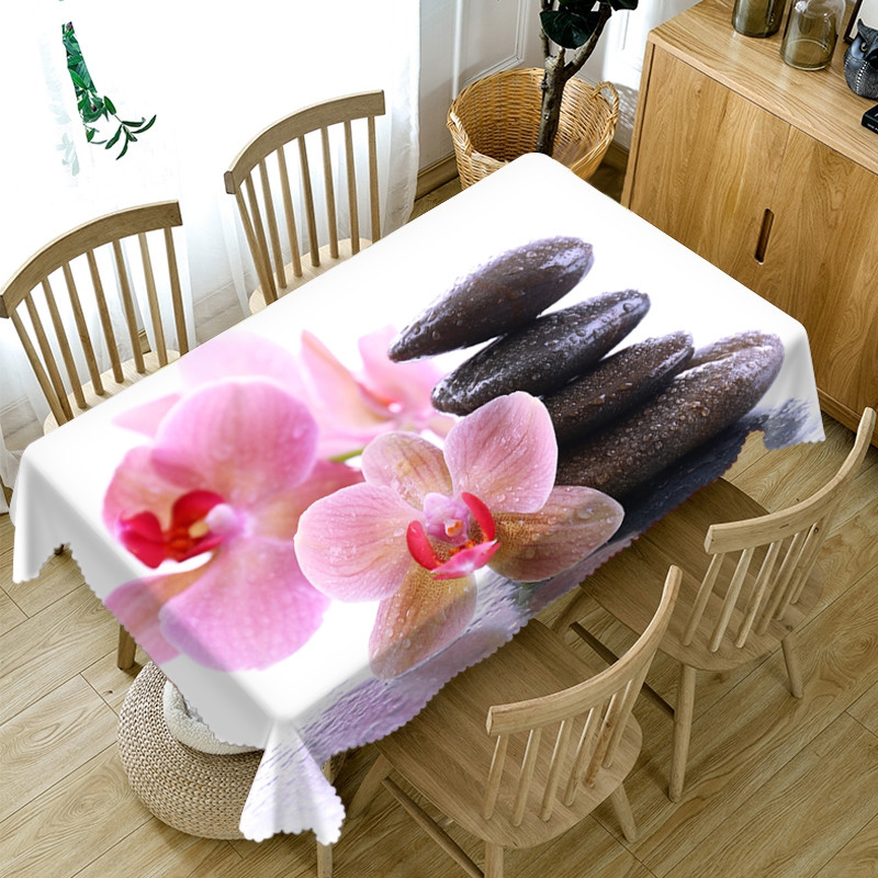 Polyester Oilproof Rectangle Home Use Soft 3D Tablecloth