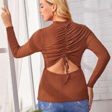 Maternity T-Shirt mit Ausschnitt hinten, Kordelzug und Ruesche